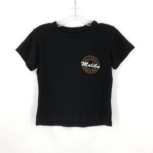 Malibu California Black Cropped T-Shirt Surf Top